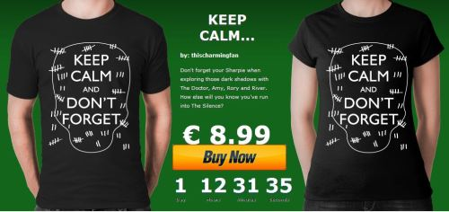 "ONLY 15 HOURS LEFT AT TEEBUSTERS! Don't forget! Get your Keep Calm and Don't Forget Doctor Who t-shirt from Teebusters.  Use Code ""who1"" for a discount of 1 euro."