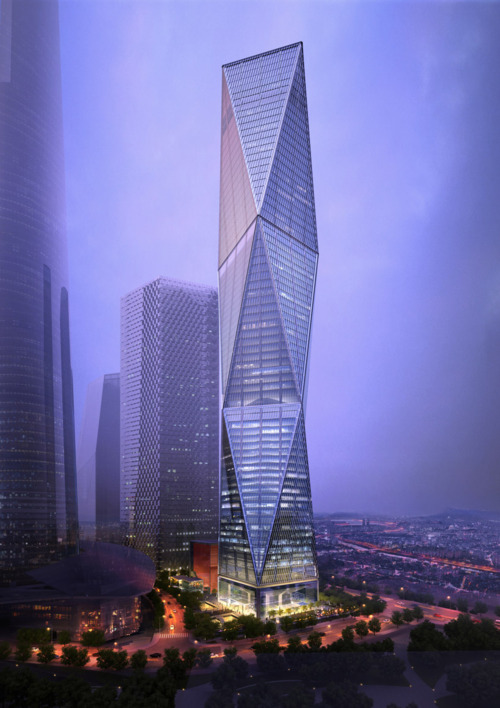 wearerestless:  Diagonal Tower in Seoul, South Korea by SOM