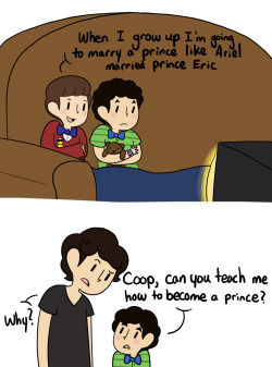 "inkystars:  egobus:  Kid!Klaine  ""Blaine? What's going on?"" Kurt frowned as Blaine sat him down on his couch. Blaine sighed, standing in front of him. ""Okay, so you said that you wanted to marry a prince so I went home and asked Cooper how to be a prince but he didn't make a lot of sense and wasn't really helpful but he said that if I wanted to be your prince I should sing you a song and point at you which seems silly but if it'll make me a prince, I'll do it for you plus there was this song that mommy was listening to yesterday and it reminded me of you."" He took a deep breath. ""So here goes.""  He started singing, his young voice slightly cracking and slurring past a couple of lyrics. You'd think that people would have had enough of silly love songs But I look around me and I see it isn't so, oh no Some people want to fill the world with silly love songs But what's wrong with that? I'd like to know. 'Cause here I go again… I love you. He made sure to point right at Kurt as he said, ""you"". I love you. When he'd finished, Kurt was staring at him awestruck on the couch. ""So…"" Blaine said nervously. ""What did you think?"" Kurt scooted forward and took Blaine's hand. ""Wow, Blaine."" he whispered, awestruck. ""That was amazing. You're definitely my prince."" Blaine grinned. ""Good, because I love you, Kurt and I want to be your prince."" He tightened his hold on his hand. ""Does this mean that we're married now?"" Kurt shook his head bashfully, blushing before he leaned over and kissed Blaine on the cheek. ""There,"" he said shyly. ""Now we're married."" Blaine grinned and hugged Kurt, his husband. And then they watched Aladdin.    So cute! :)"