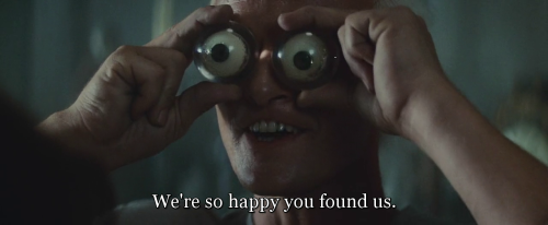 """We're so happy you found us."" Blade Runner (1982) directed by Ridley Scott, starring Harrison Ford, Rutger Hauer, Sean Young, Edward James Olmos, M. Emmet Walsh, Daryl Hannah, William Sanderson, Brion James, Joe Turkel, Joanna Cassidy, James Hong, Morgan Paull, Kevin Thompson. Based on Do Androids Dream of Electric Sheep? by Philip K. Dick."