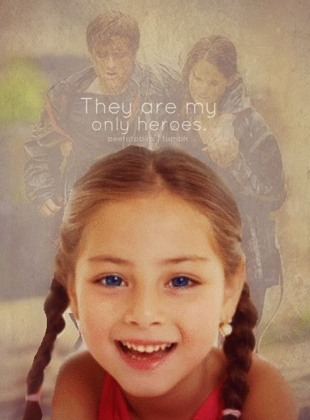 "AU of Katniss and Peeta's daughter. (Teacher's POV)  I call the little girl to the front before she left for the day. I had things to discuss with her about her most recent assignment… It was suppose to be fun, a small essay about the kids fictional heros. Like a superhero, or something like that. But this little girl, she refused to turn her small one page essay in. She sits at the chair by my desk, setting her bag on the floor and tugging at one of her braids. I lean in, ""May I ask why I didn't get an assignment from you today? The essay?"" She shakes her head, ""I can't write it."" My brow furrows, ""And why not? It was suppose to be fun, writing about your fictional hero…"" Her bright blue eyes look up at me, ""I only have two heroes, and they aren't fictional."" My eyes widen at the little girl's words, ""What do you mean?"" She smiles, a bright white one. The type that could charm anyone. ""My parents did more then any superhero could miss. They saved the world in a different way! A better way. They are my only heroes."" I sit there stunned. What could I say to that? The little brunette with two braids hops to her feet, grabbing her bag. ""They played the games Ma'am! And they are the best! Better then any super hero!"" The little girl runs out of the room, her hair flying through the wind as she goes. Hair and confidence like her mother. Eyes and charm like her father. She was a Mellark, no doubt."