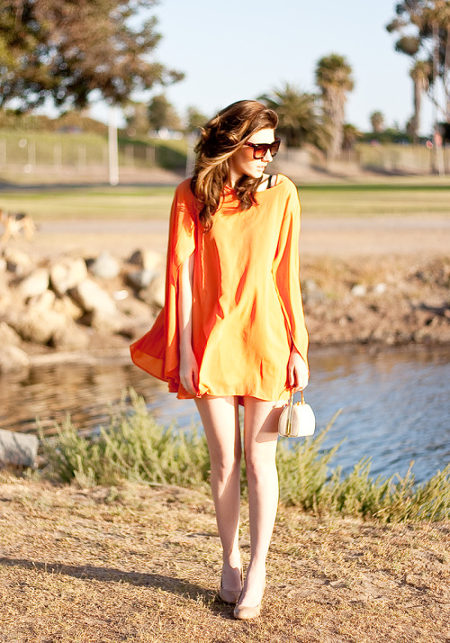 Cape Style Loose Orange Dress, ROMWE/Romwe.com