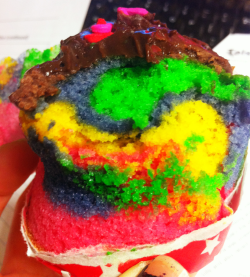 Rainbow cupcake with chocolate icing