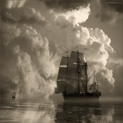 art-and-dream:  Black and white photography marine sailing ship wonderful style by Victor Peryakin From the scatter us