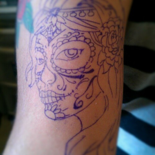Preview of the work getting done this week! #ink #work #dayofthedead #girl #stencil #tattoo #art  (Taken with instagram)