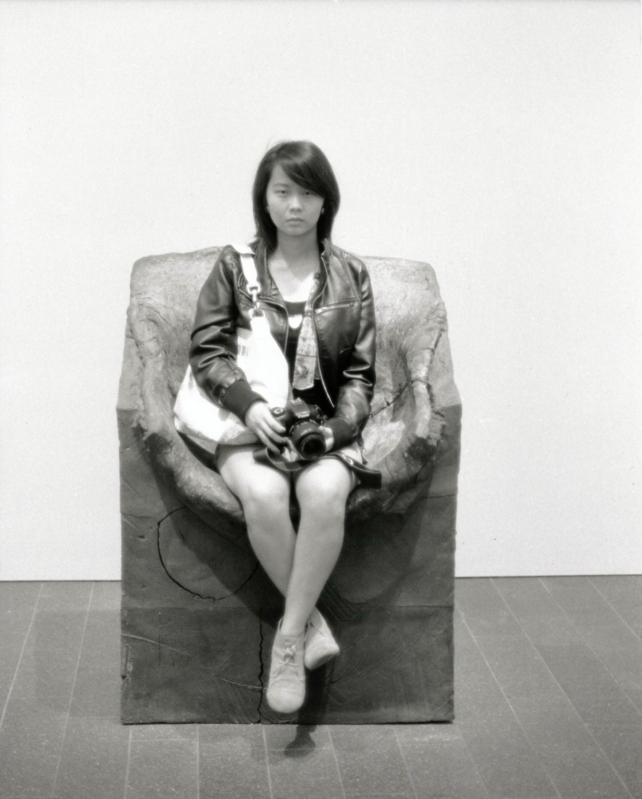 "Self-portrait series for class: ""Freshman Year""#1, 'The Throne'Minolta SRT-201 + Kodak T-MAX 100"