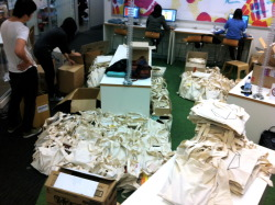 Filling the goodie bags for our launch party!