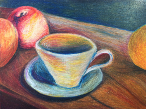 Impressionist reproduction. Colored pencil.