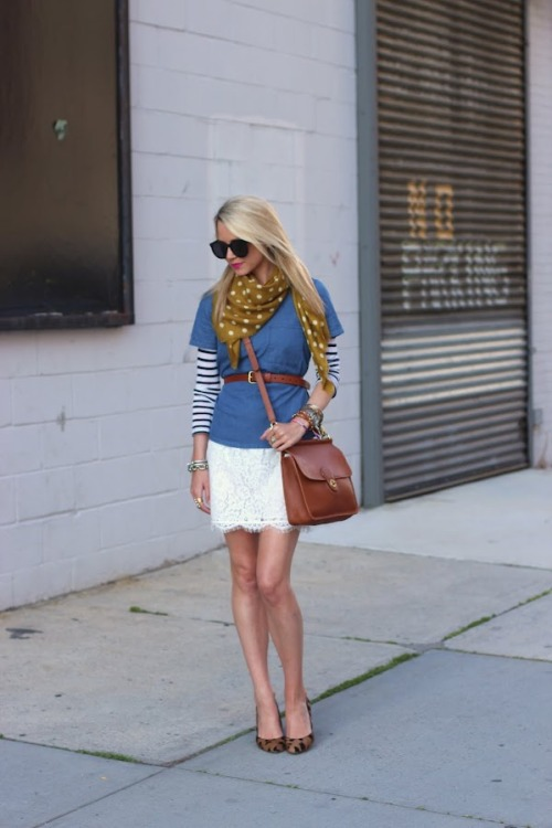 what-do-i-wear:  Stripe Top: Saint James (similar in amazing colors here). Chambray Shirt: Madewell. Purse: Coach (new version here). Shoes: Madewell(adorable leopard flats here). Belt: Jcrew. Sunglasses: Karen Walker 'Super Duper'. Scarf: Madewell. Lips: NARS 'Schiap'. Jewels: Michele Watch, David Yurman, Jcrew, Gap, Vintage.   (image: atlantic-pacific)