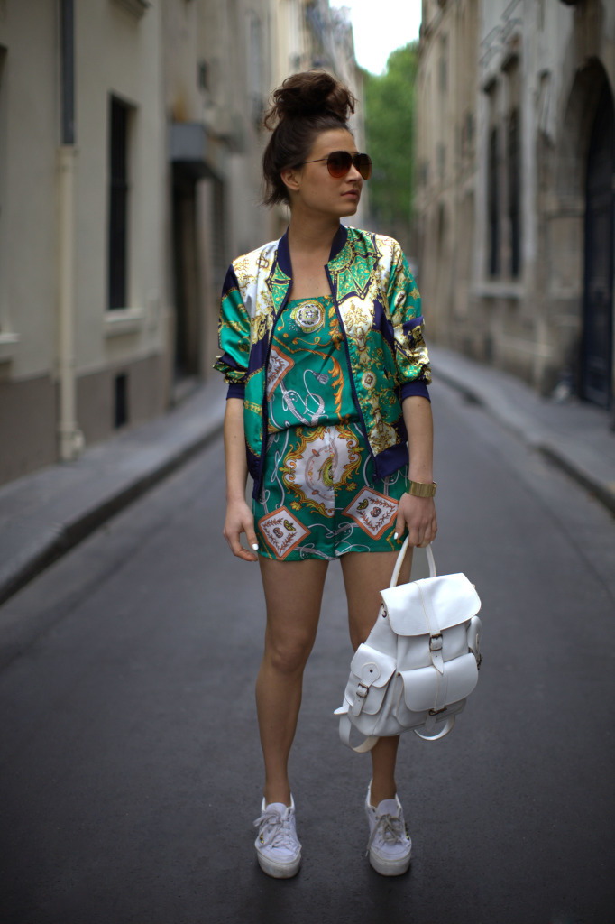 Missguided Baroque Bomber Jacket, Own The Runway Baroque Playsuit, Grafea White Backpack, ASOS Platform Sneakers & Sunglasses (image: befrassy)