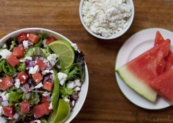 ©Harriet Stevens 2012 Watermelon and feta salad, so delicious! Taken for a cheese assignment at uni.