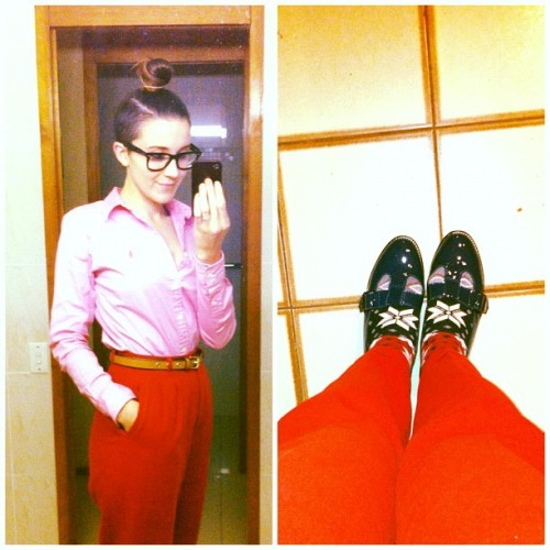 too clowny you think? #pink #ralphlauren #shirt #red #vintage #highwaisted #trousers #socks #patent #leather #sandals #blue #cobalt (Taken with instagram)