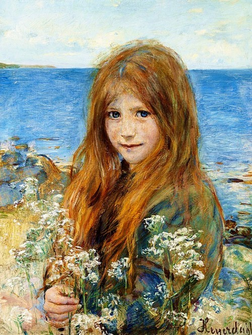 Hans Olaf Heyerdahl (Swedish, 1857-1913) Little Girl on the Beach, oil on canvas. 60 x 45 cm, private collection.