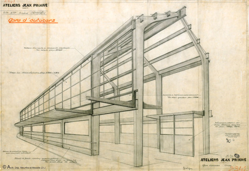 urbain:  Design for Citröen bus station, 1933, Arch. Dep. Meurthe-et-Moselle, Fonds des Ateliers © SCE Jean Prouvé (via Jean Prouvé 1901-1984: Industrial Beauty | DETAIL daily)