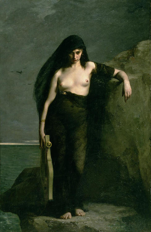 worldpaintings:  Charles August Mengin Sappho, 1877, oil on canvas, 230.7 × 151.1 cm, Manchester Art Gallery. Sappho was a Greek poet who lived around 600 BC. She wrote about love, yearning and reflection, often dedicating her poems to the female pupils who studied with her on the island of Lesbos. Mengin has chosen to paint a legend narrating that Sappho killed herself by jumping off the Leucadian cliffs for unrequited love of Phaon, a ferryman. This legend is regarded as unhistorical by modern scholars, but it may have resulted in part from a desire to assert Sappho as heterosexual.