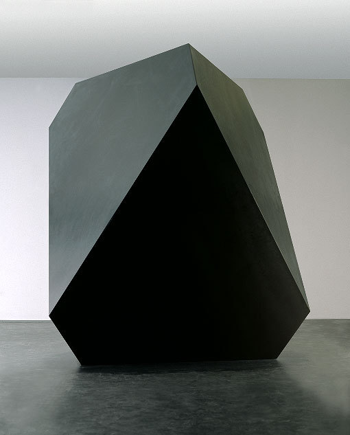 Carsten Nicolai, Anti, 2004.Regular geometric forms represent systematic thinking and the interrelationship between mathematics, optics, art and philosophy. anti is a geometrical form, a distorted cube, truncated on top and bottom to obtain rhombic and triangular faces. It reacts to the magnetic field of bodies, enabling an interaction with the visitor while its mechanism remains hidden. anti refuses instant recognition. Its black, light-absorbent surface and monolith-like crystalline shape, that derives from Albrecht Dürer's engraving Melancholia I (1514), confronts the viewer, trying both to mask its form and to disguise its function and thereby absorbing information. wowgreat:  (via carsten nicolai)