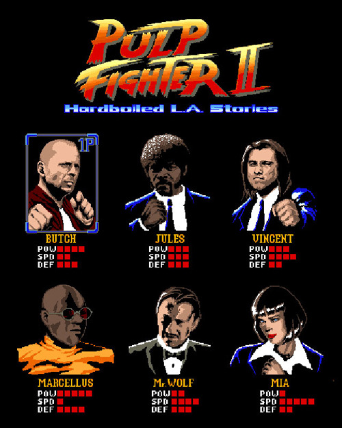 otlgaming:  PULP FIGHTER 2  Created by Filippo Morini A mash-up between Pulp Fiction and Street Fighter 2 Submitted by: filippomorini (via insanelygaming)