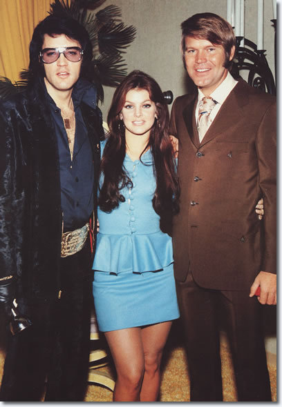 Elvis Presley, Priscilla Presley and Glen Campbell at George Klein's Wedding in Las Vegas- December 5th 1970