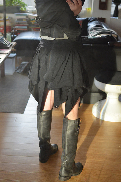 Ann Demeulemeester Draped Black Skirt, Volume is adjusted through a series of buttons that can be closed at the waist band.  The view from the back is surely my favorite. MBD