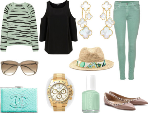Minty by sheenatschang featuring mirrored sunglassesProenza Schouler zebra shirt, £380Cut out shoulder shirt, $72True Religion zipper skinny jeans, $323Valentino leather shoes, $621Victoria Beckham mirrored sunglasses, $535Emilio Pucci printed hat, $226Men's 18K Yellow Gold White Dial Tachymeter Bezel Rolex Daytona…, $21,225Nail polish