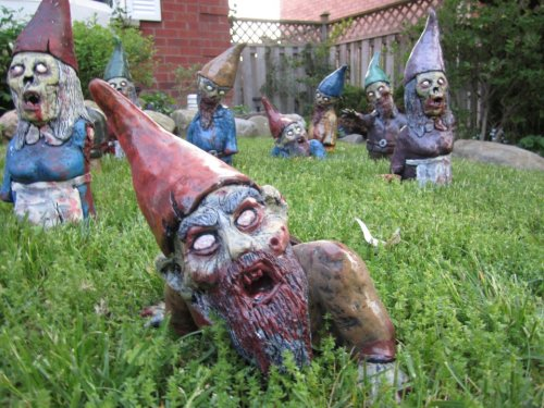 Now these are the kind of gnomes I want in my garden. Maybe the souless eyes will scare the f'ing raccoons away.