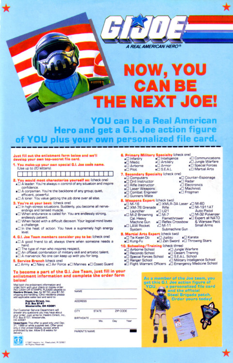 If you fill out this enlistment form you could be the next Joe, and get your own personalized file card, an action figure and an official patch!