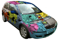 I will be painting a car with Jim Stoten on Sunday in Redchurch Street from 4 onwards. The car will be taking part in the Mongolia Charity Rally driven by the very brave (or maybe foolhardy) Mattia Bernini. So if you're in the neighbourhood pop along. This is a rough of how it might turn out.