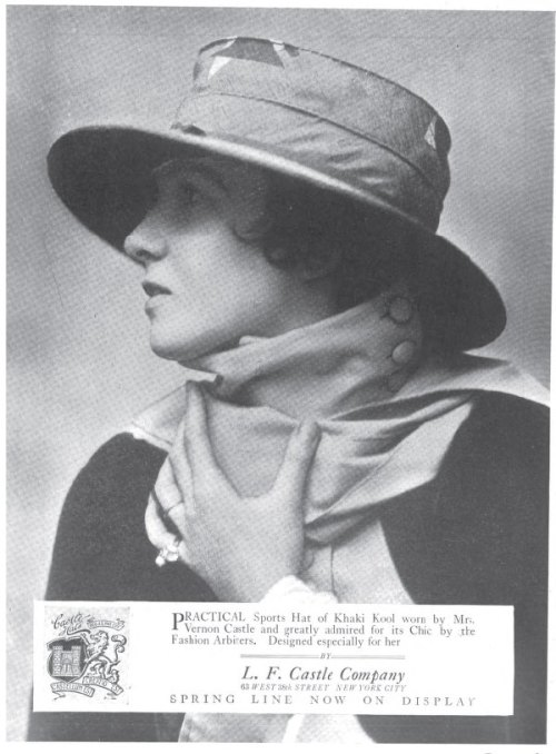 "~ The Millinery Trade Review, 1917(click to enlarge)""Practical Sports Hat of Khaki Kool worn by Mrs. Vernon Castle and greatly admired for its Chic by the Fashion Arbiters."""
