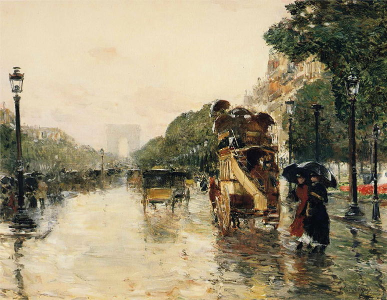 artemisdreaming:  Champs Elysées, Paris, 1889  Frederick Childe Hassam Large image:  HERE Detail