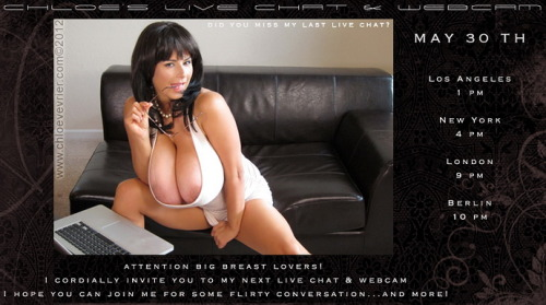 Do yourself a favor and DON'T FORGET about @ChloeVevrier's LIVE webcam show tonight! Join ChloeVevrier.com right now to make sure you'll be able to access the members are where the show will be hosted… BOOB ON!