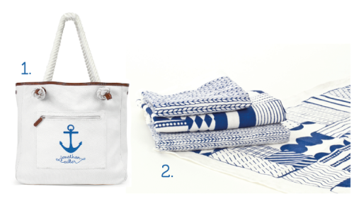 Some things never go out of fashion! Like blue & white, stripes, anchors and dots.. After the weekend of sunshine and swimming in the sea, this fits the summer mode that we suddenly found ourselves in too! 1. Bag from Jonathan Adler and 2. Fabric from the talented Finnish designers at Season One.
