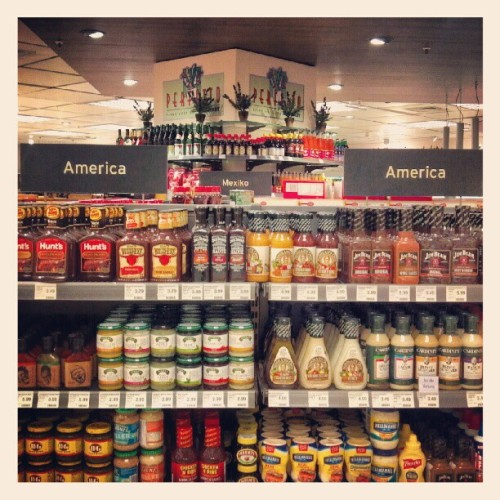 nobodysdiary:  The American section of the grocery store. Mostly BBQ sauce. (Taken with instagram)