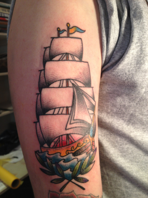this is my old school ship tattoo done by kids love ink east in london. took 2hours to do.