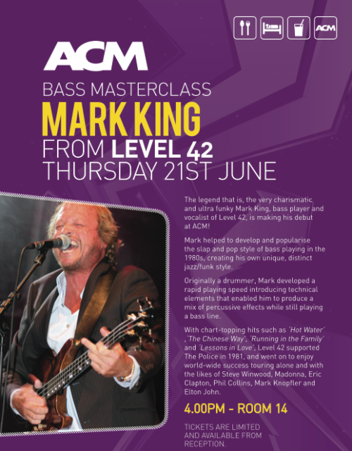 Level 42's Mark King to visit ACM!!!!