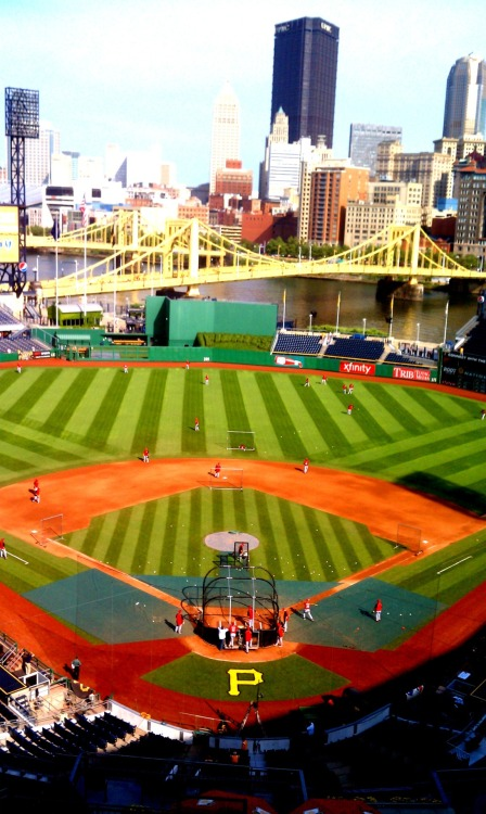 Eagle-eye view of Reds batting practice in Pittsburgh.