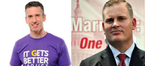 """Moron Of The Week"" Inductee Brian Brown To Dan Savage: Game On!  Via Brown's Blog on NOM's website:  Dan — I accept and will look forward to debating you at your dining room table. As I said in my challenge to you, anytime, any place.While I appreciate the invitation that you have extended to my wife, she will not be able to attend. She is a full-time mom with seven beautiful children and an eighth on the way.I have no objection to Mark Oppenheimer from the New York Times covering the discussion, nor to you hiring your own video crew to film the event, provided that I am able to hire my own video crew to be sure there is no creative editing of the discussion.Not that a New York Times reporter would slant the news, mind you! This will be fu"