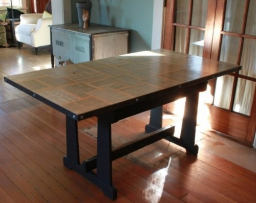 home-furnishings:  DIY Vintage Table With Dictionary Pages Top