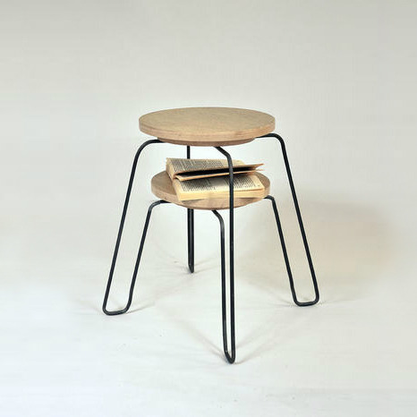 Stool by Matthieu Appert Available with or without shelf at the bottom of the seat.