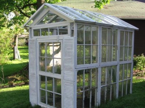stringandwing:  Greenhouse made of repurposed windows