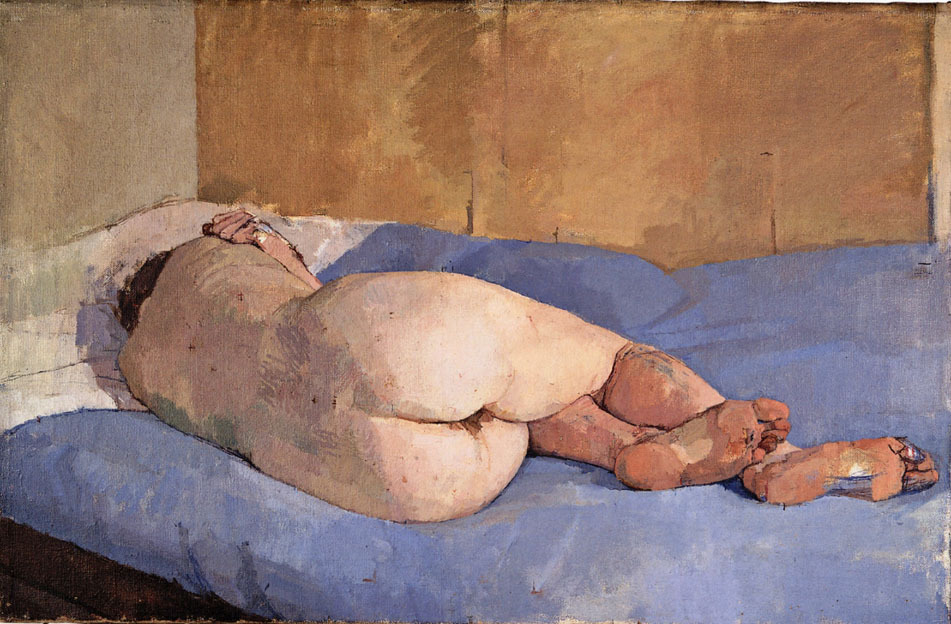deadpaint:  Euan Uglow, Beautiful girl lying down