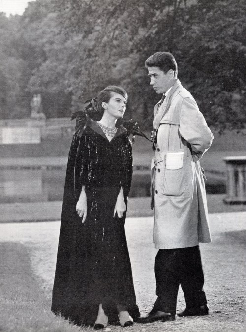 meetmeinmalkovich:  chainedandperfumed:  Alain Resnais and Delphine Seyrig on the set of Marienbad. 1961.