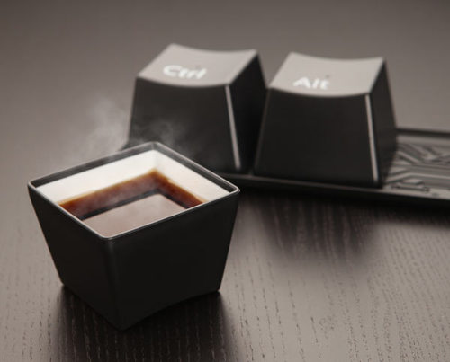 Ctrl-Alt-Delete Cup Set  Creative coffee cups for geeks Ctrl + Alt + Delete is a set of 3 cups like the buttons you daily use at your keyboard for many times. These are made with high quality plastic and are dishwasher safe.