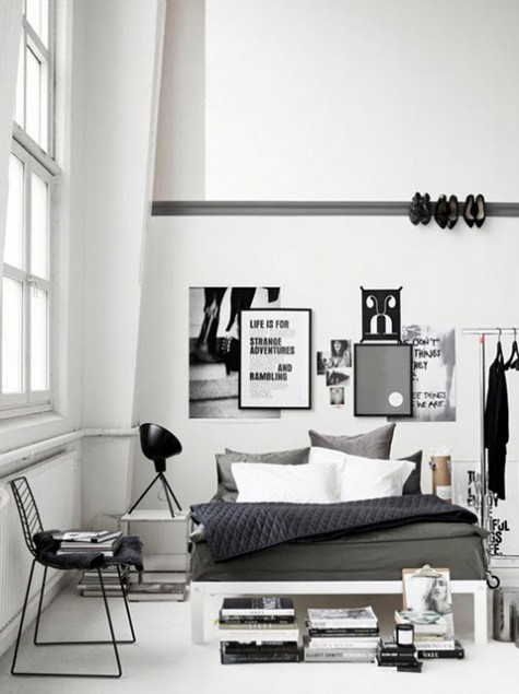 the-cool-school:  Sleek and simple bedroom. Also the owner perfecter the black and white theme, like !  Stileto rail?