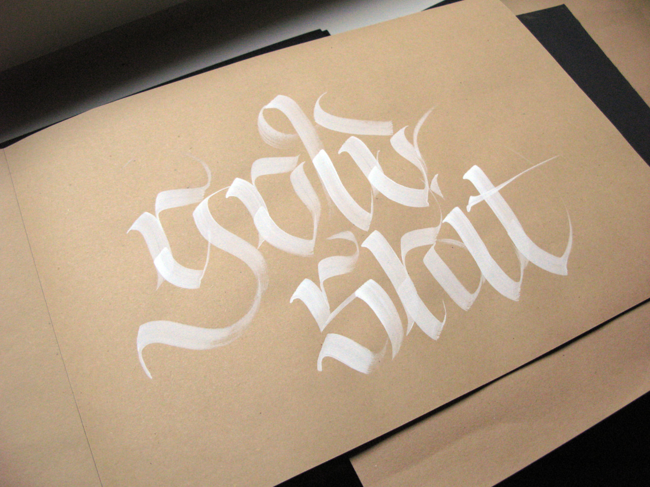Calligraphi.ca - Gold Shit - White Tempera, Flat Brush on craft paper - Giuseppe Salerno