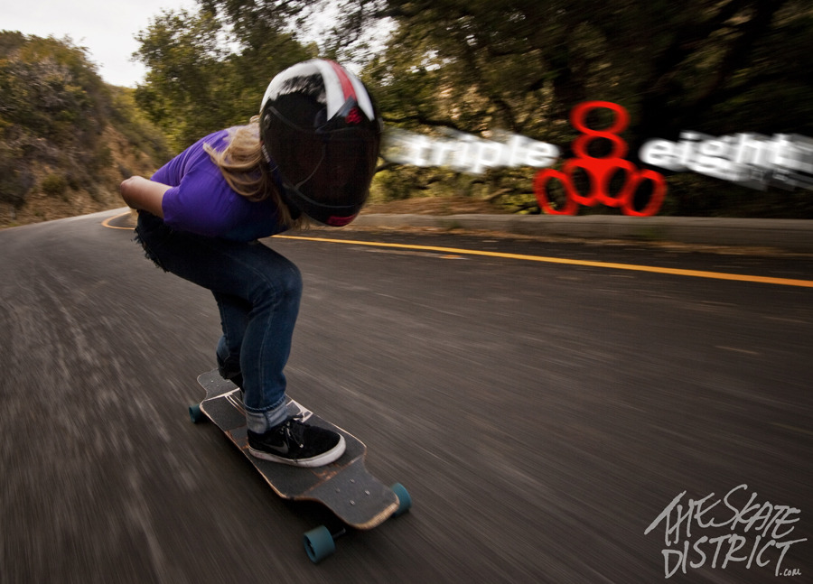 skatedistrict:  Amanda Powell tucking. Triple 8 - T8 Racer