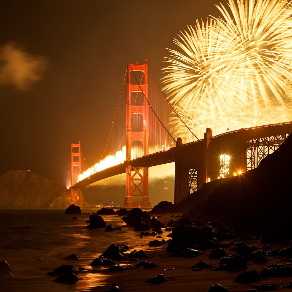 (Fireworks by the Golden Gate bridge - Imgurから)