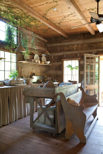 "Rustic kitchen inside a restored ""Tennessee dog trot"" log cabin (via Photos: Cabin Fever 