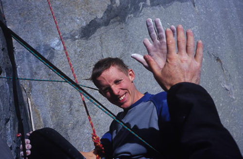 Hi five from Tommy Caldwell on el cap…
