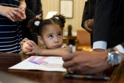 xtremecaffeine:  okayla:  President Obama signs a little girl's drawing. Little girl does not appreciate it.   Mothafuckin' Presidents, always taking credit for other people's art, man.