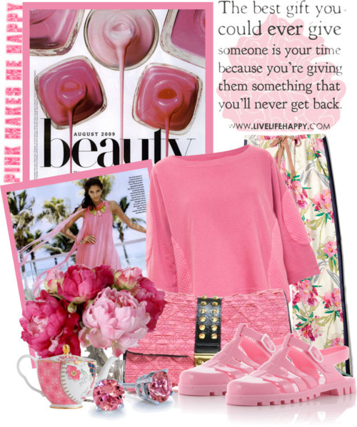 pink makes me happy by queenrachietemplateaddict featuring 18k jewelry